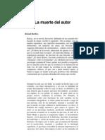 Roland Barthes- La Muerte Del Autor