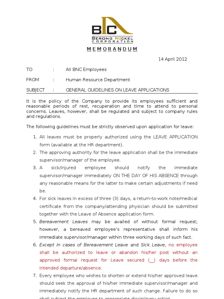 Memo On Leave | Employment | Politics  Leave Application Format For Employee