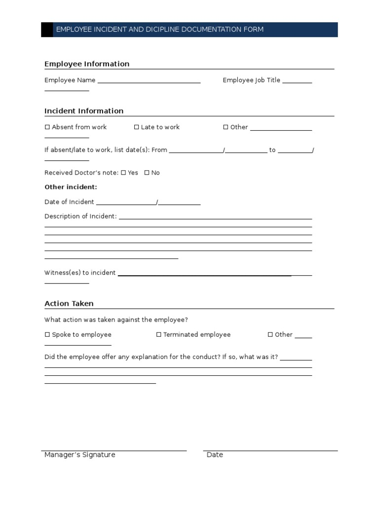 employee incident and dicipline documentation form