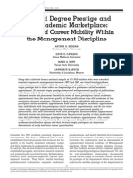 Doctoral Degree Prestige and the Academic Marketplace a Study of Career Mobility Within the Management Discipline-Web of Science