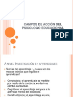 CAMPOS DE ACCIÓN DEL PSICOLOGO EDUCACIONAL