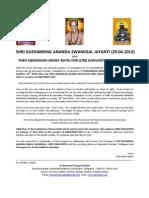 Shri Kuzhandhai Ananda Swamigal Jayanti & Thenabishekam for Lord Danvantri