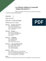 Detail Syllabus Distance Diploma Automobile Engineering Semester 1