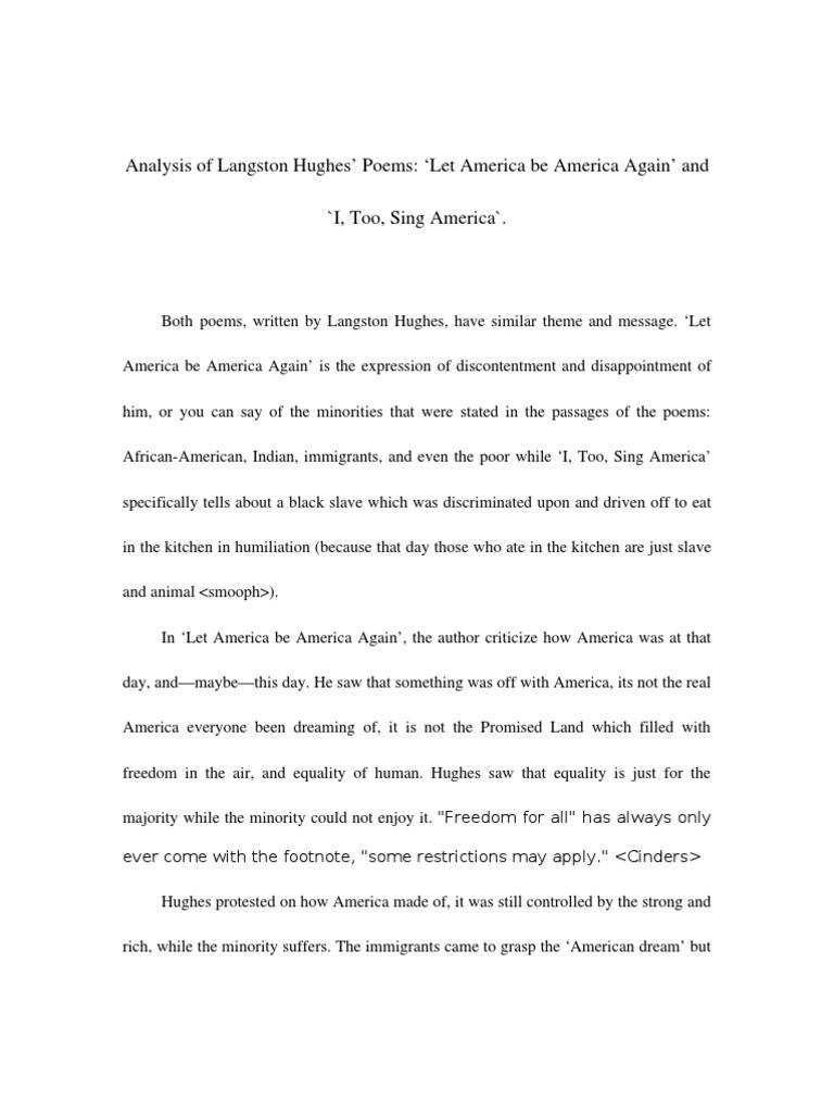 Analysis Of Langston Hughes Poems Let America Be America