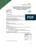 BMSS Prelim 2007 Sec 4 Exp Sc Physics Paper 2-Ans