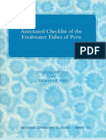Fishes Fresh Water Peru Check List