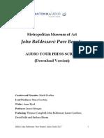 Baldessari Audio Guide Transcript