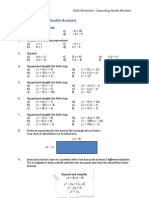 Expand and Simplify Double Brackets Worksheet