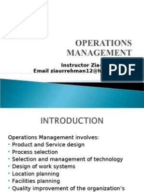 Operations Management 1new 2003 1 1 Factors Of Production Operations Management