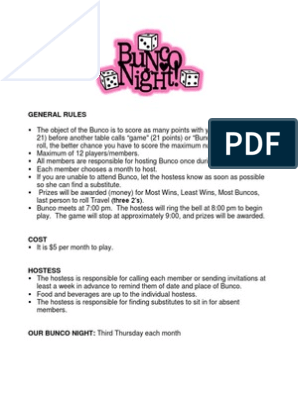 photo relating to Bunco Rules Printable identified as Bunco Pointers 2012 Gaming Sporting activities