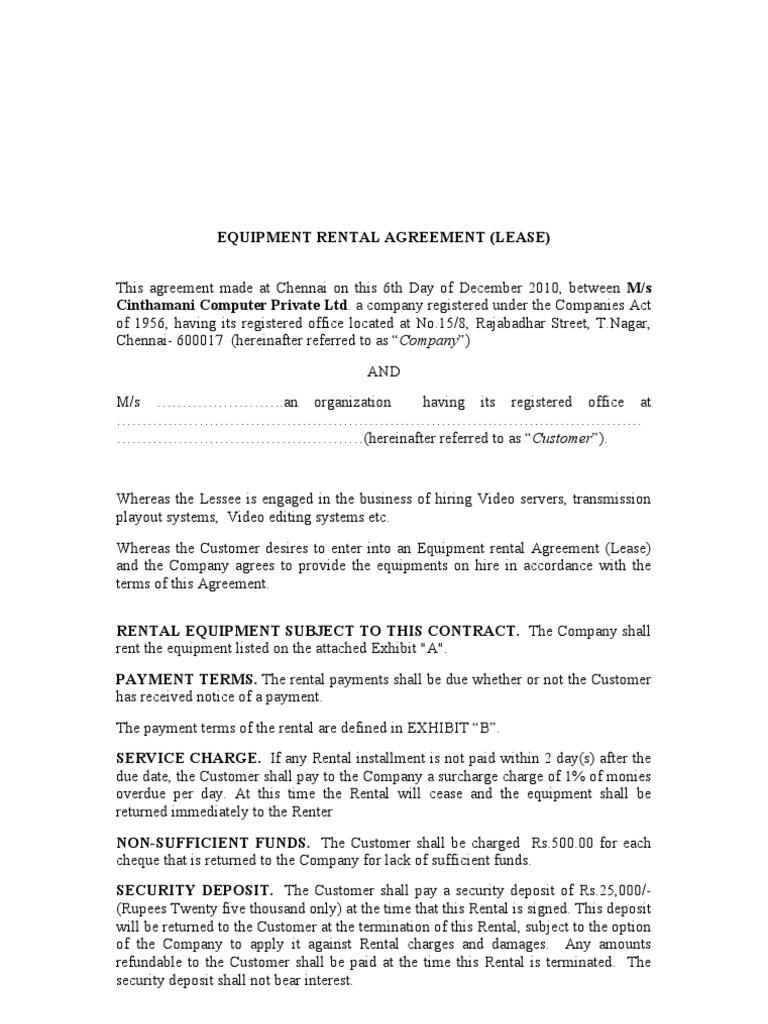 Equipment Rental Agreement Indemnity Renting