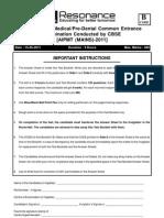AIPMT Mains-2011-Testpaper Eng Solutions