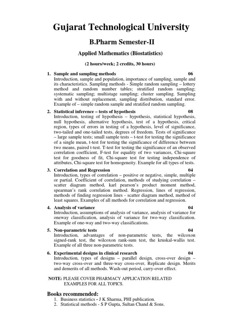Applied Mathematics Bio Statistics) | Statistical Hypothesis Testing ...