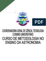 Curso de Metodologia No Ensino Da Astronomia