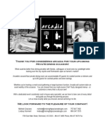 Arcadia Private Dining Information 2012