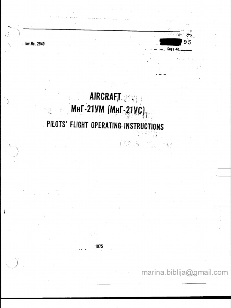 MiG-21 US/UM Flight Manual_Weight & Balance Manual