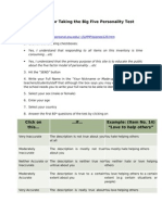 Guidelines for Taking the Big Five Personality Test