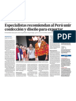 Negocio es unir confección y diseño para exportar textiles del Perú
