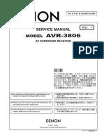 DENON AVR-3806 Parts List, Service Manual