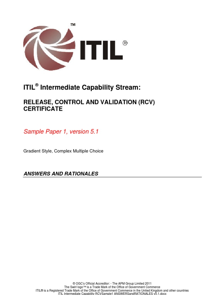 Itil Intermediate Capability Rcvsample1 Answers And Rationales V51