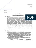 PHYS 201 Resultant and Equilibrant Forces Formal Report