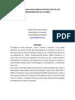 VIGILANCIA TECNOLOGICA COMO FACTOR DEL ÉXITO DE LOS EMPRENDIMIENTOS EN COLOMBIA