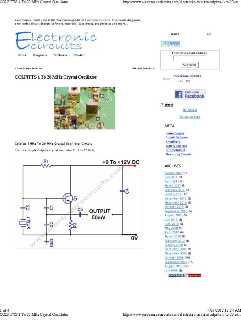 colpitts 1 to 20 mhz crystal oscillator pdf electronic oscillator rh es scribd com