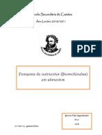 Biologia e geologia- relatório sobre biomoléculas