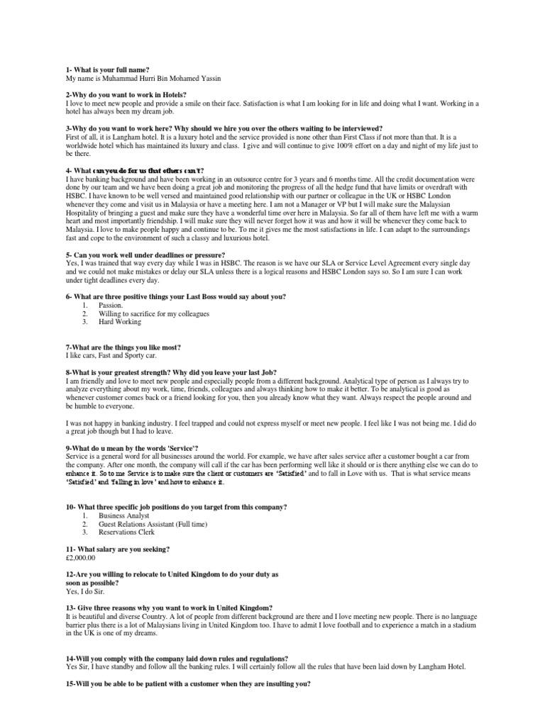 Langham Hotel Job Interview   Business