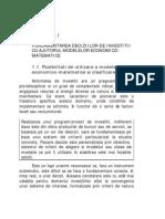 Capitolul i Fund Amen Tare A Deciziilor de Investitii Cu Ajutorul Modelelor Economico-matematice