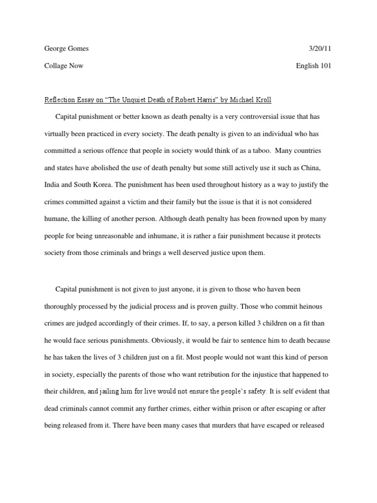 Essay About Health Reflection Essay On The Unquiet Death Of Robert Harris By Micheal Kroll   Capital Punishment  Punishments Essay On Science And Religion also How To Write Science Essay Reflection Essay On The Unquiet Death Of Robert Harris By Micheal  Health Essay