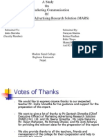 A Study On Marketing Communication at Marketing Advertising Research Solution