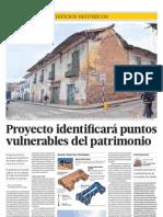 29.04.2012 EL COMERCIO Proyecto identificarà puntos vulnerables del patrimonio