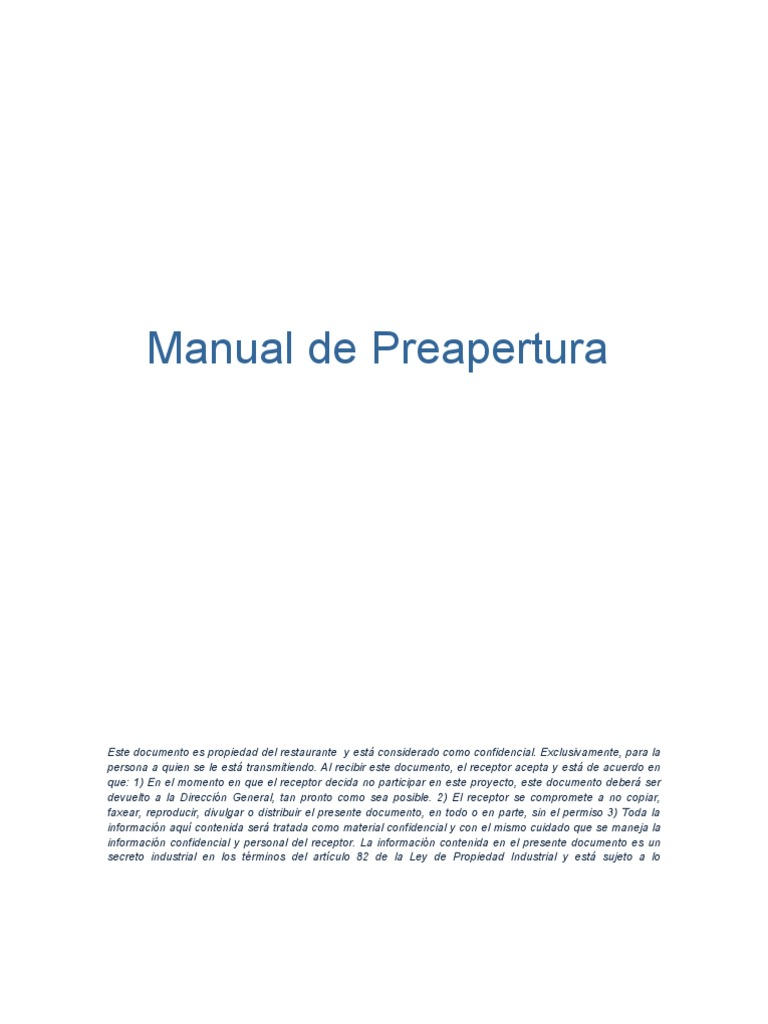 Manual de Preapertura Restaurante