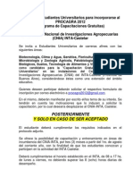Llamado a Estudiantes Universitarios Para Incorporarse Al PROCAGRA 2012