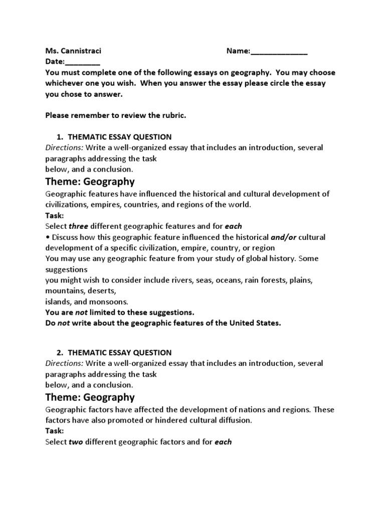 Thematic Essay Question Geography | Cognition | Sicología y ciencia ...