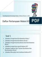 Dafar Pertanyaan K3