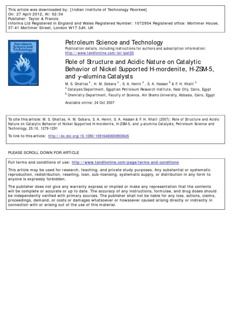 Acidic Nature Cracking Chemistry Catalysis