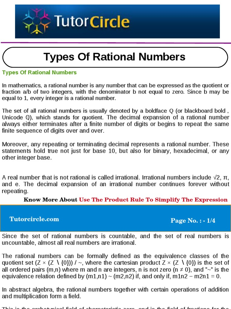 types of rational numbers rational number real number