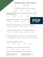 Exercícios de Matemática (Funções)