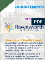 Ravensworth Baptist Church Announcements, 4/29/12