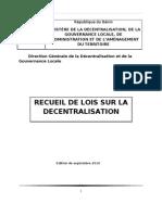 Recueil Des Lois Sur La Decentralisation