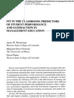 Predictors of Student Performance