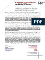 CGE A17-04-12 Negligencia Gerencial en la UPR - Comunicado de Prensa
