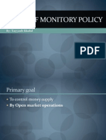 GOALS AND TARGETS OF MONITORY POLICY
