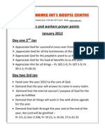 Pastors and Church Workers Prayer Point (2nd - 8th Jan 2012)
