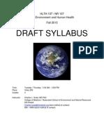 Human Health & the Environment - HLTH 107 Z1 - Course Syllabus