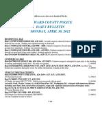 Police Daily Crime Bulletin 20120430
