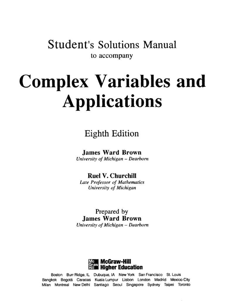 Student's solutions manual to accompany complex variables and.