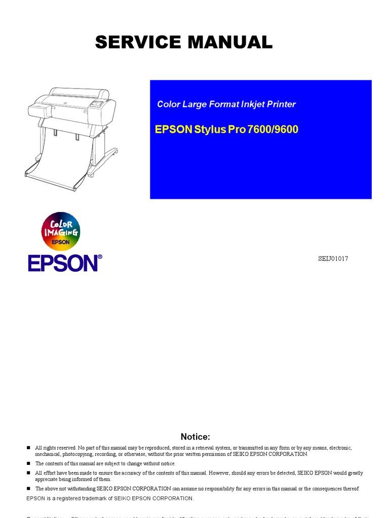 stylus pro 7600 9600 electrical engineering media technology rh scribd com Epson Stylus Pro Epson Stylus Pro